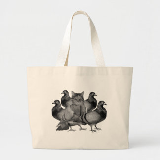 funny cat amongst the pigeons large tote bag