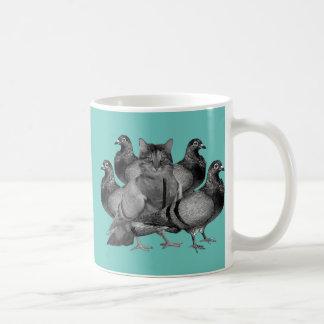 funny cat amongst the pigeons mugs