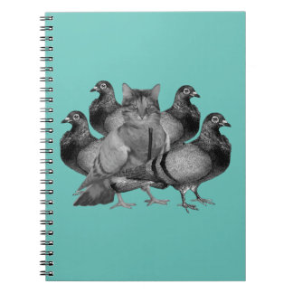 funny cat amongst the pigeons spiral notebook