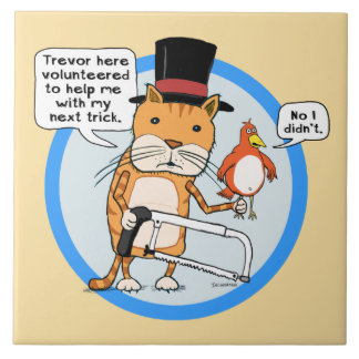 Funny Cat and Bird Magic Trick Large Square Tile