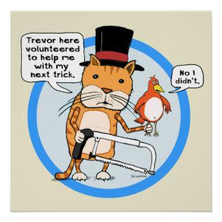 Funny Cat and Bird Magic Trick Poster