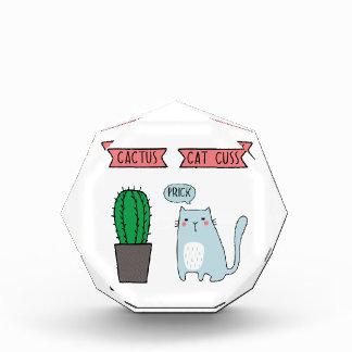 Funny cat and cactus award