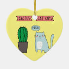 Funny cat and cactus ceramic ornament