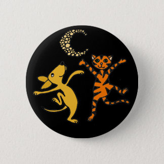 Funny Cat and Dog Dancing in the Moonlight Pinback Button