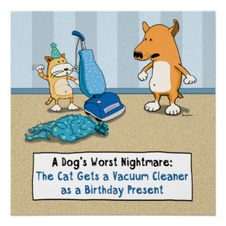 Funny Cat and Dog Vacuum Cleaner Poster