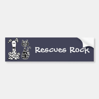 Funny Cat and Dog with Stars and Moons Spots Bumper Sticker