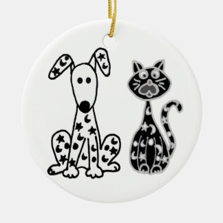 Funny Cat and Dog with Stars and Moons Spots Ceramic Ornament