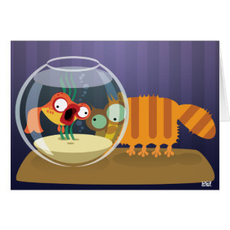 Funny Cat and Fish Greeting Card