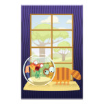 Funny Cat and Fish Customized Stationery