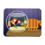 Funny Cat and Fish Flexible Magnet