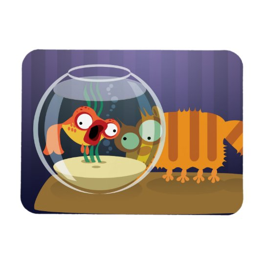 Funny Cat and Fish Magnet