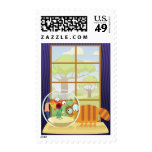 Funny Cat and Fish Postage Stamp