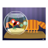 Funny Cat and Fish Postcard