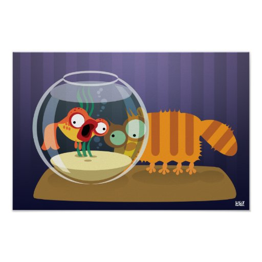Funny Cat and Fish Poster