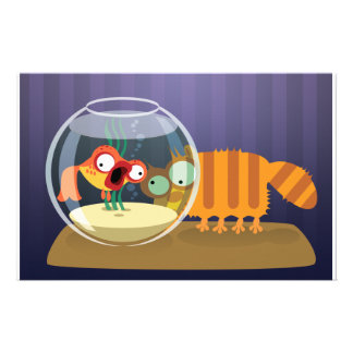 Funny Cat and Fish Stationery