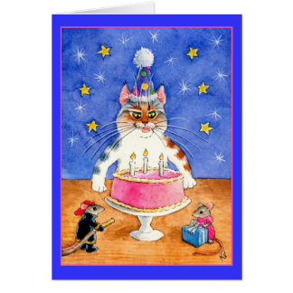 Funny cat and mouse birthday card