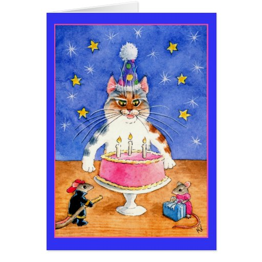 Funny cat and mouse birthday greeting cards