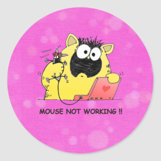 Funny Cat and Mouse Classic Round Sticker