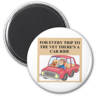 funny cat and veterinarian joke 2 inch round magnet