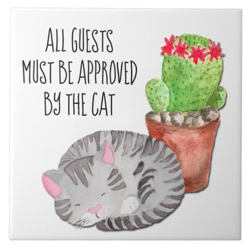 Funny Cat Approving Guests Ceramic Tile