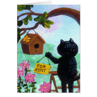 Funny Cat Art Birdhouse Cartoon Creationarts LRA Card
