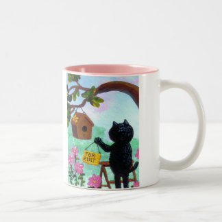Funny Cat Art Birdhouse Cartoon Creationarts LRA Two-Tone Coffee Mug