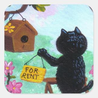 Funny Cat Art Birdhouse Cartoon Creationarts LRA Stickers