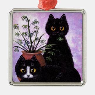 Funny Cat Art Black Tuxedo Creationarts Christmas Ornaments