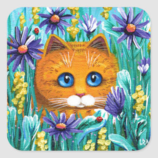 Funny Cat Art Orange Tabby Flowers Creationarts Square Sticker