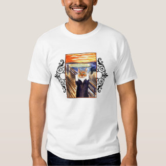 Funny cat art - The Scream tee shirt