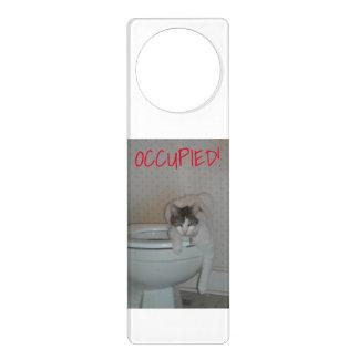 Toilet door knob hangers zazzle for Cat bathroom door