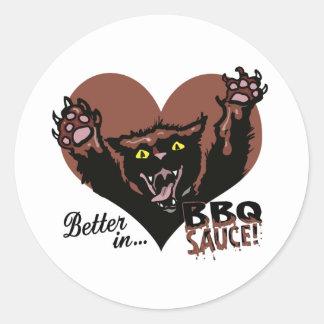 Funny Cat BBQ Classic Round Sticker