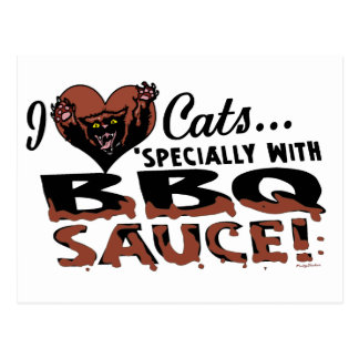 Funny Cat BBQ Postcard