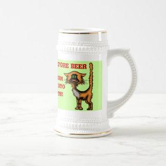 Funny cat beer mug design