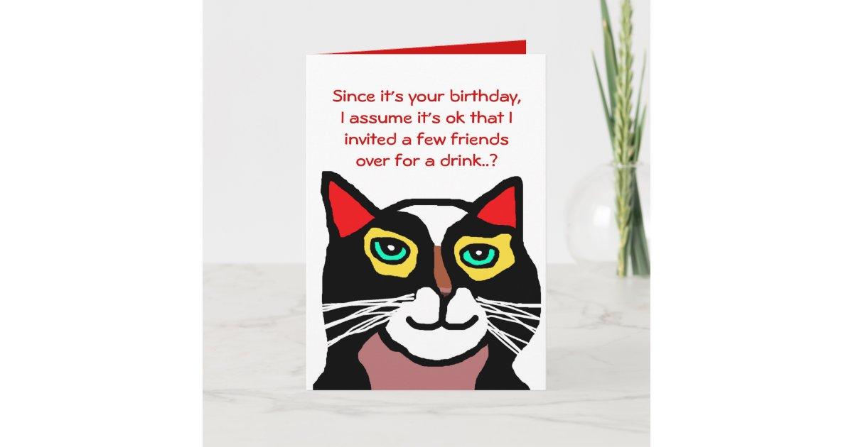 Funny Cat Birthday Card Gift