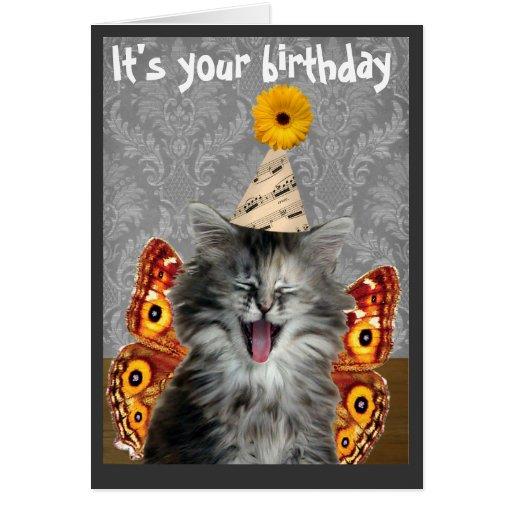 Funny Cat Birthday Card Or Invitation