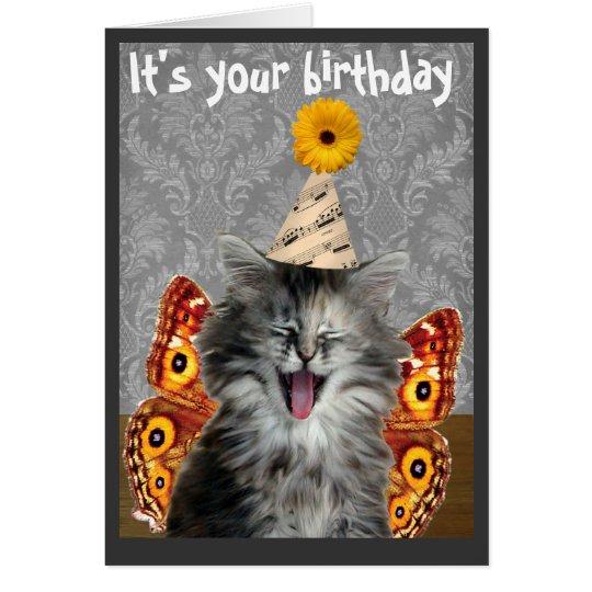 Funny Birthday Cards Invitations: Funny Cat Birthday Card Or Invitation