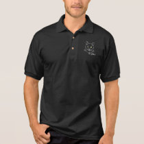 Funny Cat Black Polo Shirt