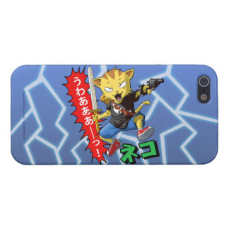 Funny Cat Boy with Gun and Sword and Thunder bolts Case For iPhone 5