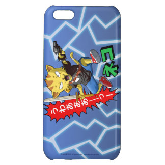 Funny Cat Boy with Gun and Sword and Thunder bolts iPhone 5C Case