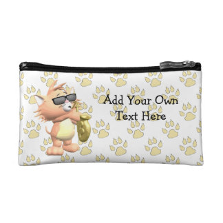 Funny Cat Cartoon Cosmetic Bag - Yellow Paws