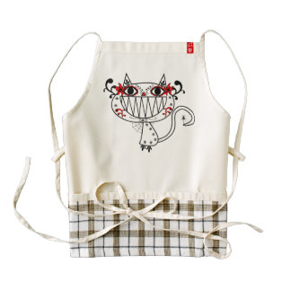 Funny cat cartoon zazzle HEART apron
