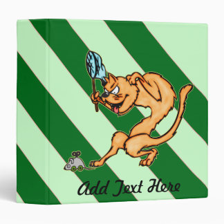Funny Cat Catches Mouse 3 Ring Binder
