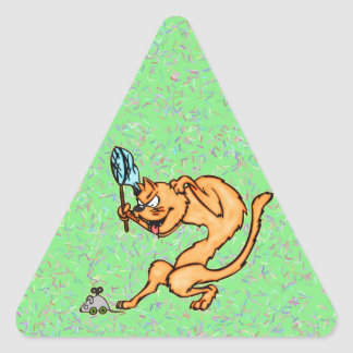 Funny Cat Catches Mouse Triangle Sticker