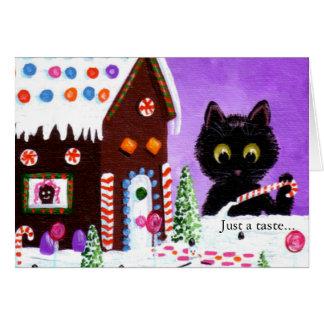 Funny Cat Christmas Art Cartoon Creationarts Card