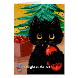 Funny Cat Christmas Art Cartoon Mouse Creationarts Stationery Note Card