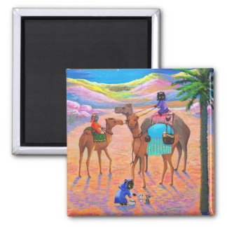Funny Cat Christmas Camel Wise Men Creationarts Refrigerator Magnets