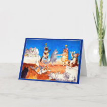 Funny Cat Christmas party greeting card
