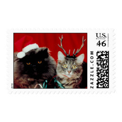 Funny Cat Christmas stamps stamp