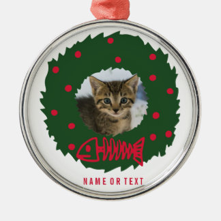Funny Cat Christmas Wreath With Your Cat's Photo Metal Ornament